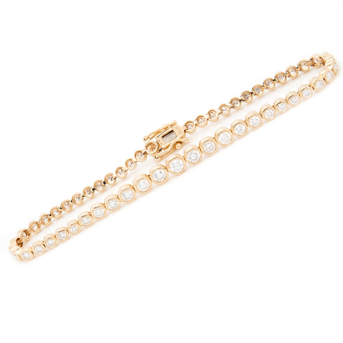 14k Yellow Gold Bezel Diamond Bracelet