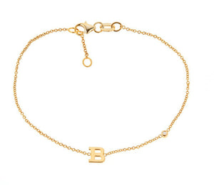14k Rose Gold Initial Bracelet With Diamond