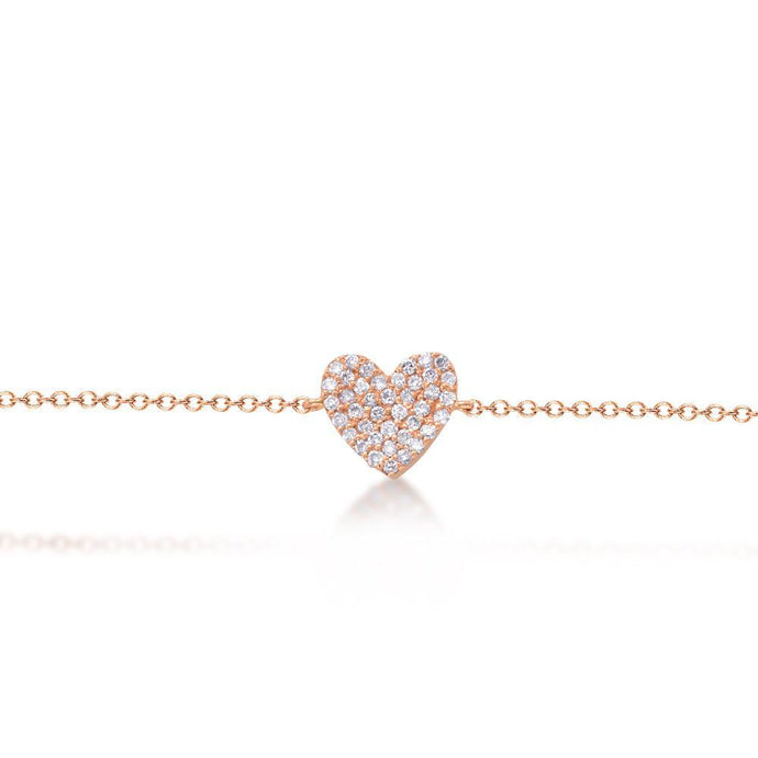 14k Rose Gold Pave Diamond Heart Bracelet
