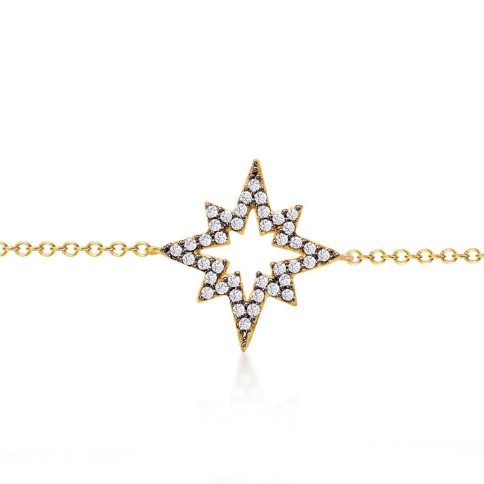 14k Yellow Gold Diamond Star Bracelet