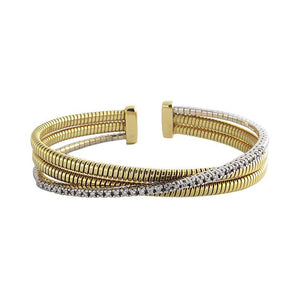 18k Yellow Gold Diamond Cuff Bracelet