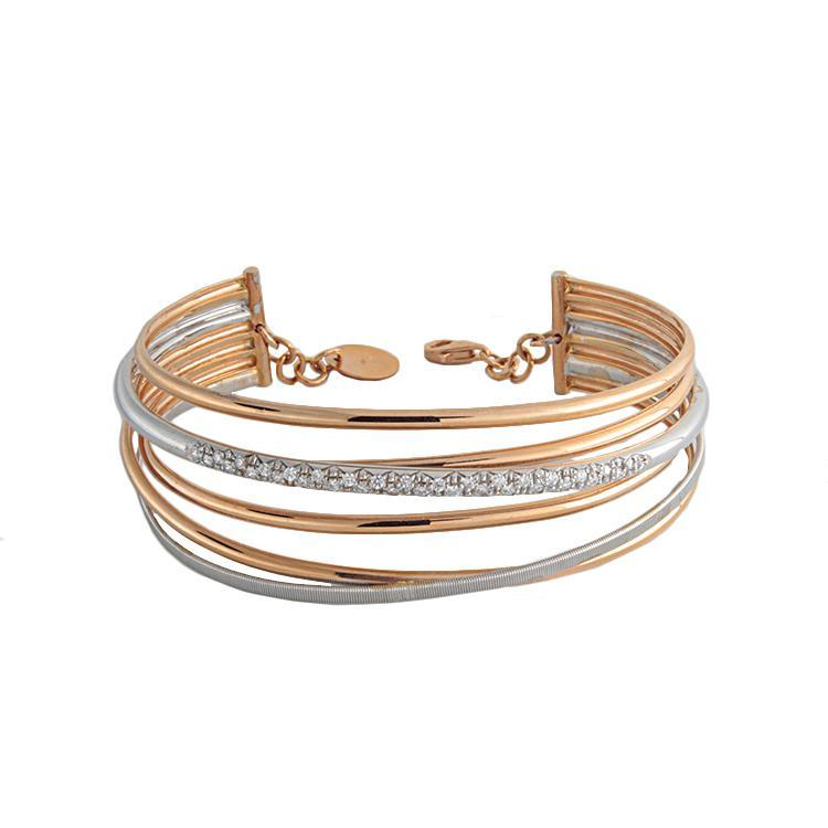 18k Rose Gold Diamond Cuff Bracelet