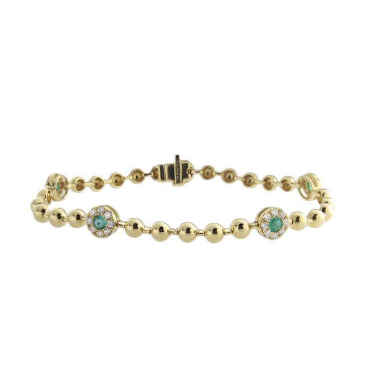 18k Yellow Gold Diamond & Emerald Bracelet