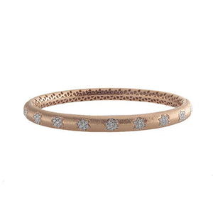 18k Rose Gold Diamond Flower Bangle
