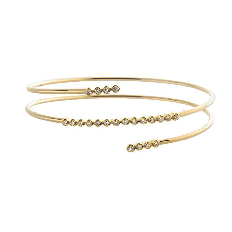 14k Yellow Gold Diamond Wrap Cuff Bracelet