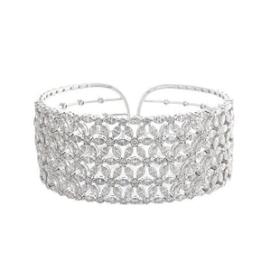 18k White Gold Diamond Cuff Bracelet