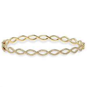 14k White Gold Diamond Twist Bangle