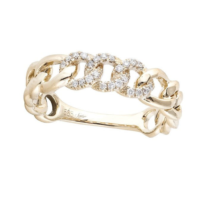 14k Rose Gold Diamond Link Ring