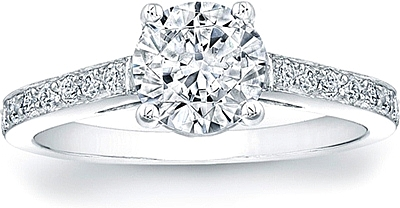 Cathedral Pave Diamond Engagement Ring- 1/4ct tw