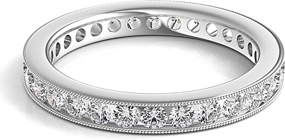 Channel Set Milgrain Round Brilliant Diamond Eternity Ring 1.00ct tw