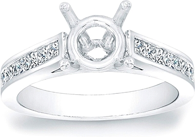 Channel-Set Princess Cut Cathedral Engagement Ring- .65ct tw