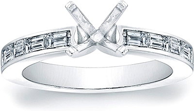 Channel-Set Straight Baguette Diamond Engagement Ring- 2/3ct tw.