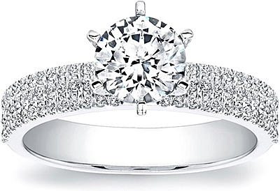 Coast Diamond 3-Row Diamond Engagement ring
