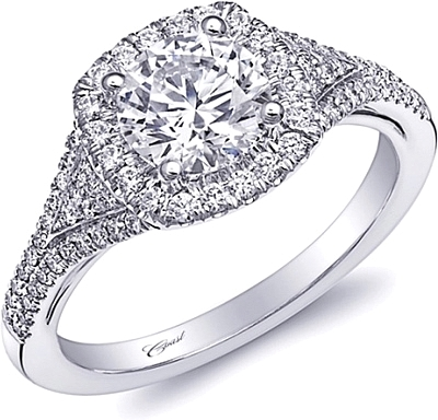 Coast Pave Diamond Engagement Ring