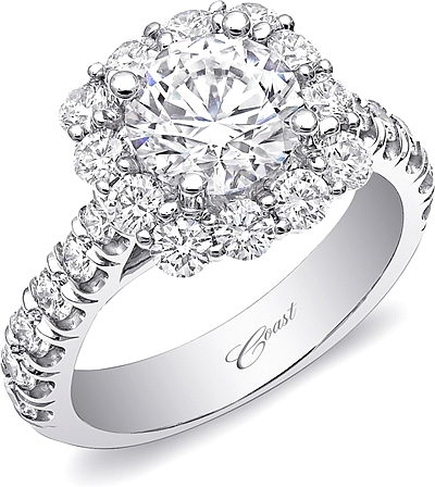 Coast Prong Set Halo Diamond Engagement Ring