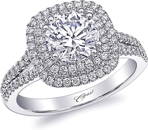 Coast Split Shank Double Halo Diamond Engagement Ring