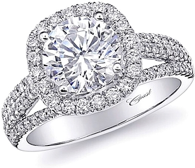 Coast Triple Row Halo Diamond Engagement Ring