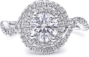 Coast Twisted Double Halo Diamond Engagement Ring