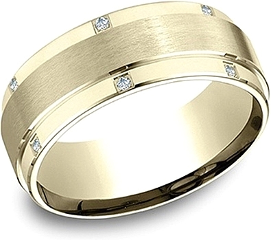 Comfort Fit Diamond Wedding Band- 8mm