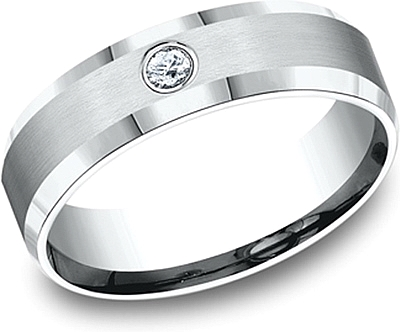 Comfort Fit Diamond Wedding Band-6mm