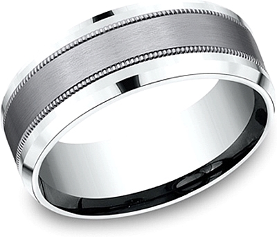 Comfort Fit Grey Tantalum Wedding Band-8mm