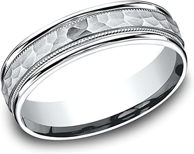 Comfort Fit Hammered Finish Wedding Band-6mm