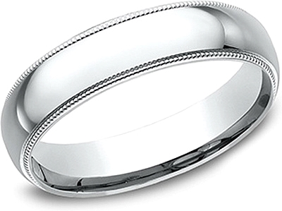 Comfort Fit High Polished Milgrain Wedding Band- 5mm