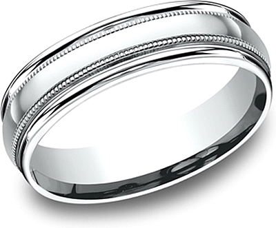 Comfort Fit High Polished Milgrain Wedding Band- 6mm