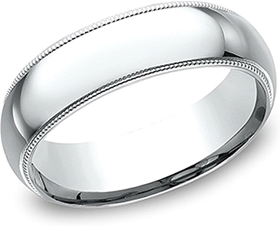 Comfort Fit High Polished Milgrain Wedding Band- 7mm