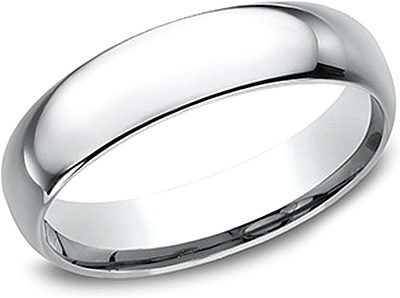 Comfort Fit High Polished Wedding Band- 5mm