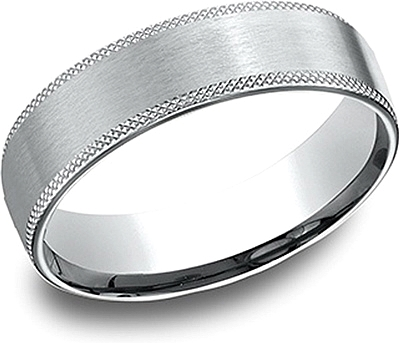 Comfort Fit Knurled Edge Wedding Band-6mm