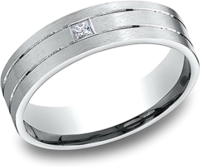 Comfort Fit Princess Cut Diamond Wedding Band- 6mm