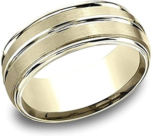 Comfort Fit Satin & High Polish Wedding Band- 8mm