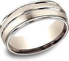 Load image into Gallery viewer, Comfort Fit Satin & High Polish Wedding Band- 8mm