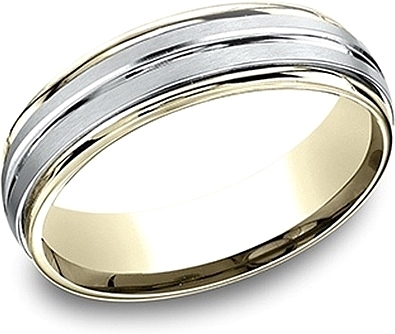 Comfort Fit Two-Tone Wedding Band- 6mm
