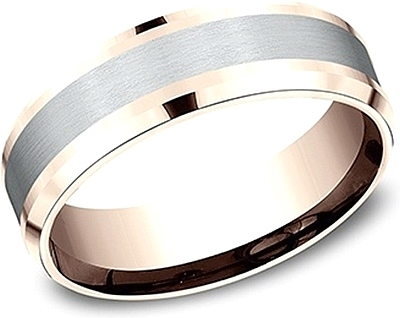 Comfort Fit Two-Tone Wedding Band- 7mm