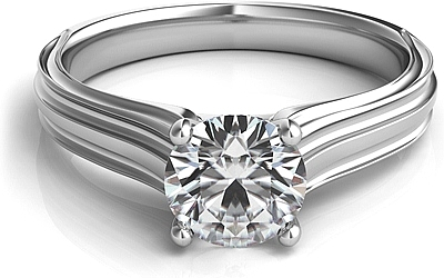 Contoure Engraved Diamond Solitaire Engagement Ring
