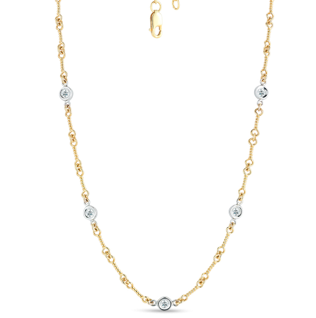 Roberto Coin Dogbone Chain Necklace with 5 Diamond Stations
