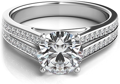 Double Row Pave Diamond Engagement Ring