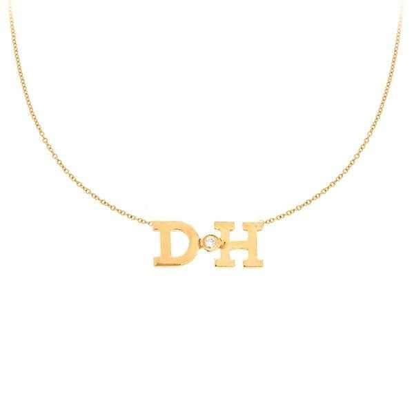 14k Yellow Gold Double Initial Necklace