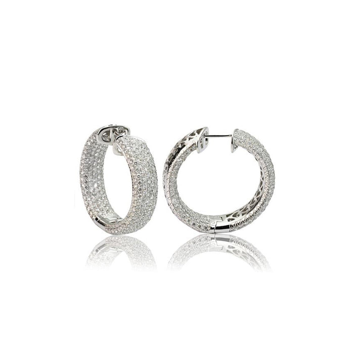 18k White Gold Pave Diamond Hoop Earrings