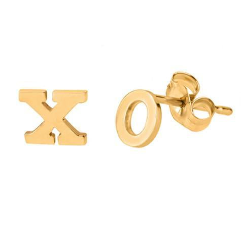 14k Rose Gold Initial Stud Earrings