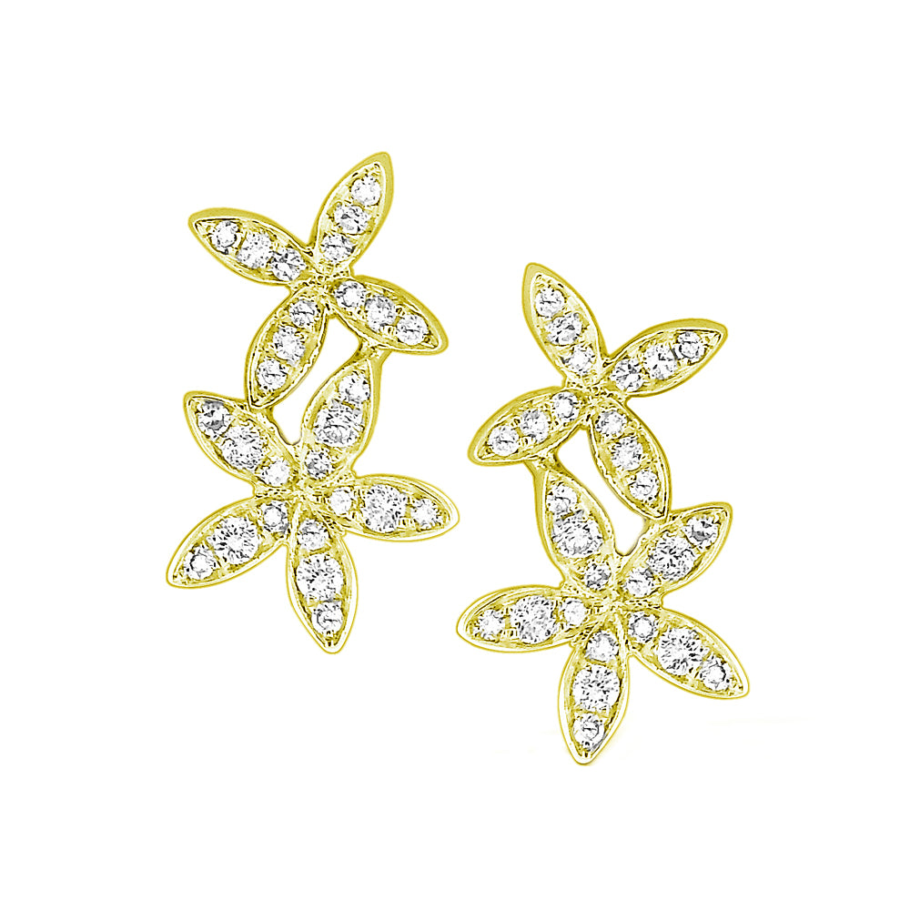 14k Yellow Gold Double Star Earrings