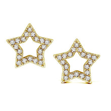 Load image into Gallery viewer, 14k Yellow Gold Diamond Star Earrings
