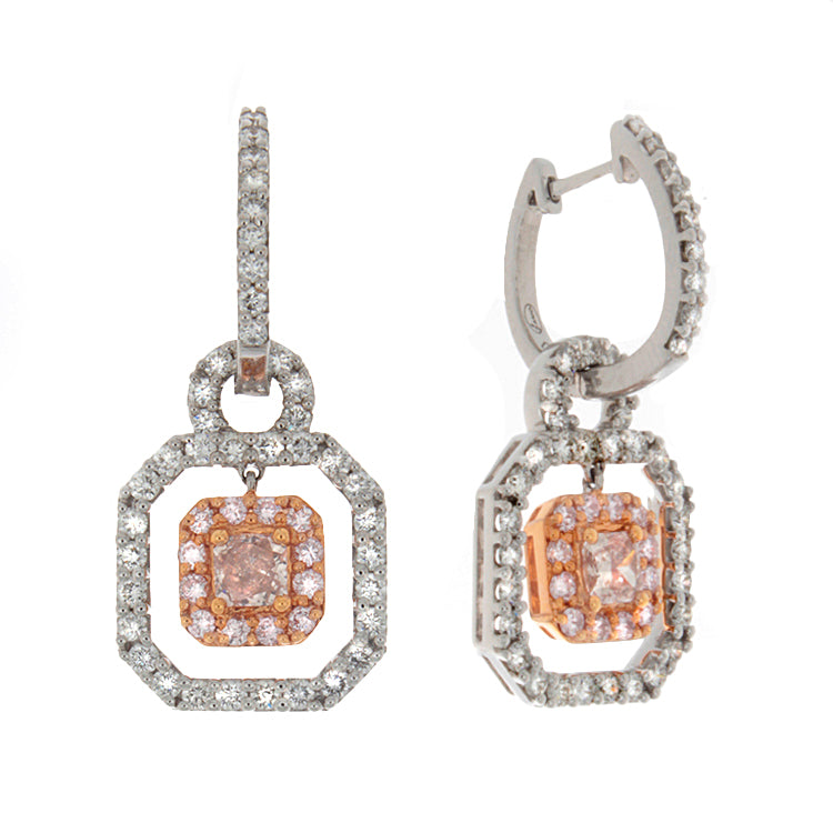 18k White Gold White & Pink Diamond Drop Earrings