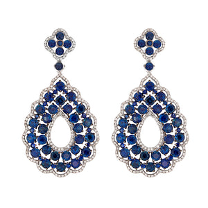 14k White Gold Diamond & Sapphire Earrings