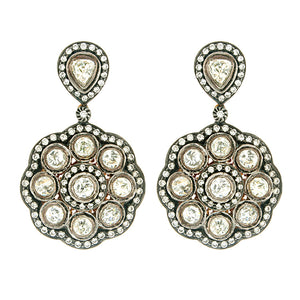Sterling Silver & 18k Yellow Gold Diamond Drop Earrings