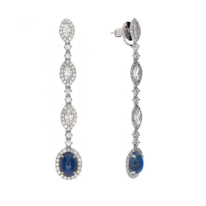 18k White Gold Diamond & Sapphire Drop Earrings