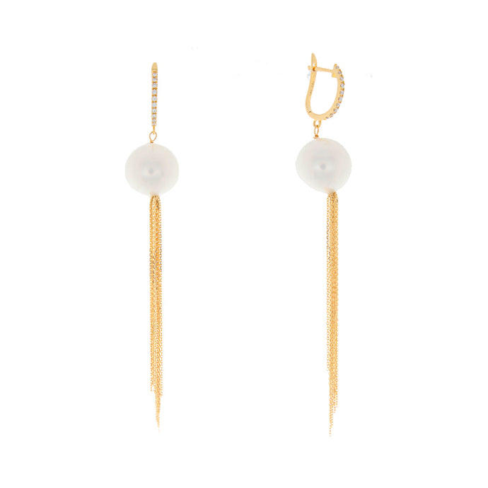18k Yellow Gold Pearl Tassel Earrings