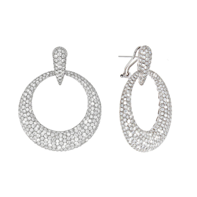 18k White Gold Pave Diamond Earrings